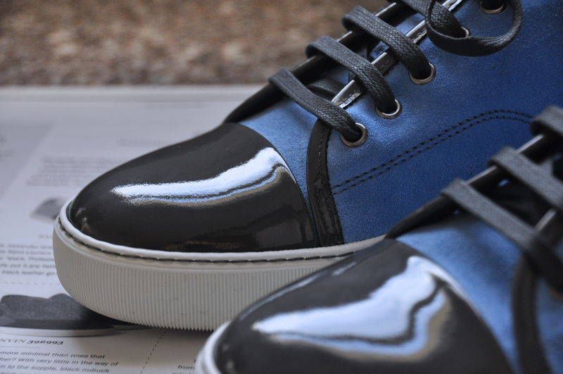 Lanvin Suede And Patent Leather Sneakers Mr Essentialist