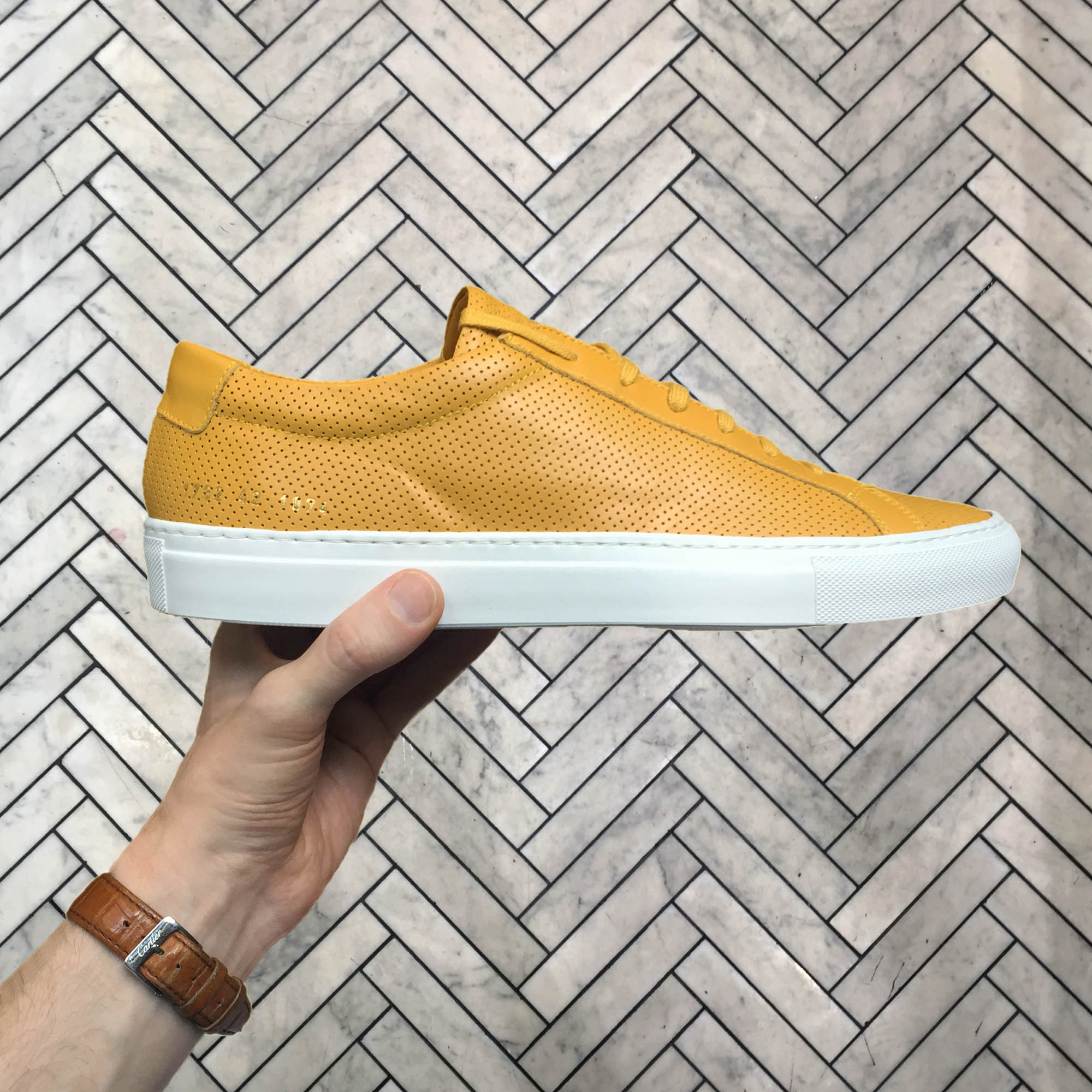common-projects-yellow-leather-sneakers